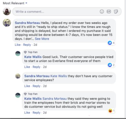 everlane: не отговарят на клиентски въпроси - липса на комуникация