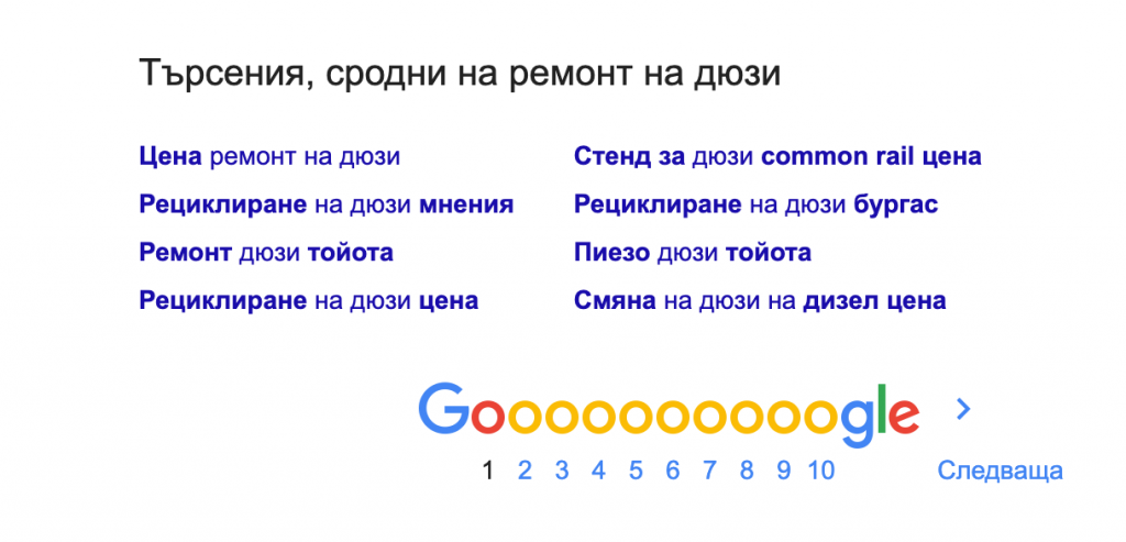 сродни търсения за ремонт на дюзи в Гугъл
