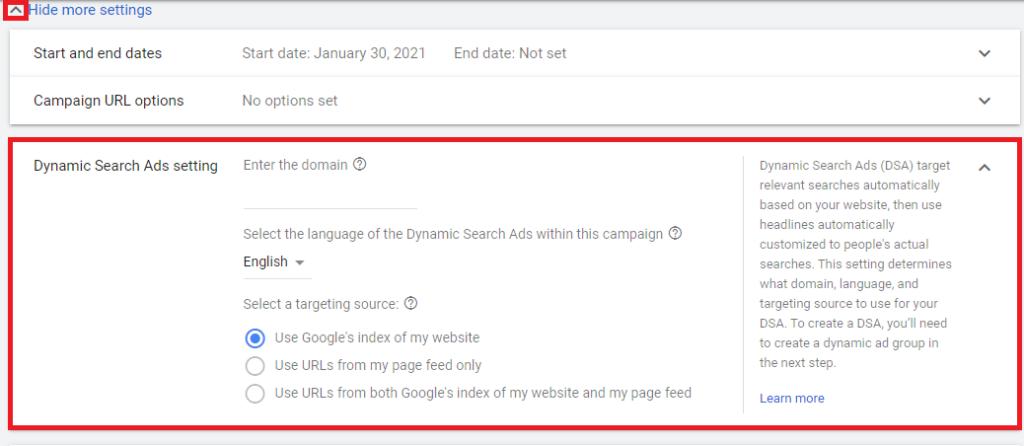 Табът в Google Ads за настройка на Dynamic Search реклами, в който се въвеждат домейн, език и източник на данни за зинамичната реклама