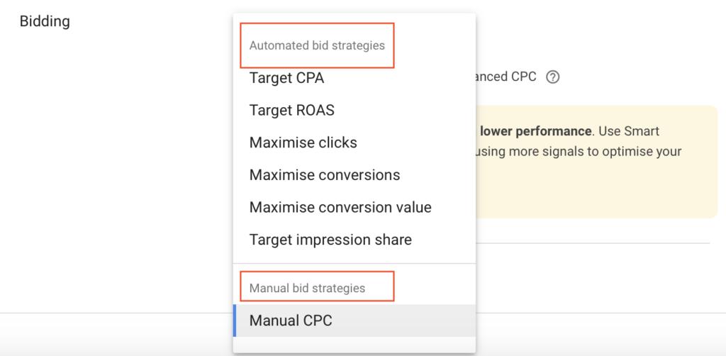 автоматични и ръчни режими за наддаване в google ads