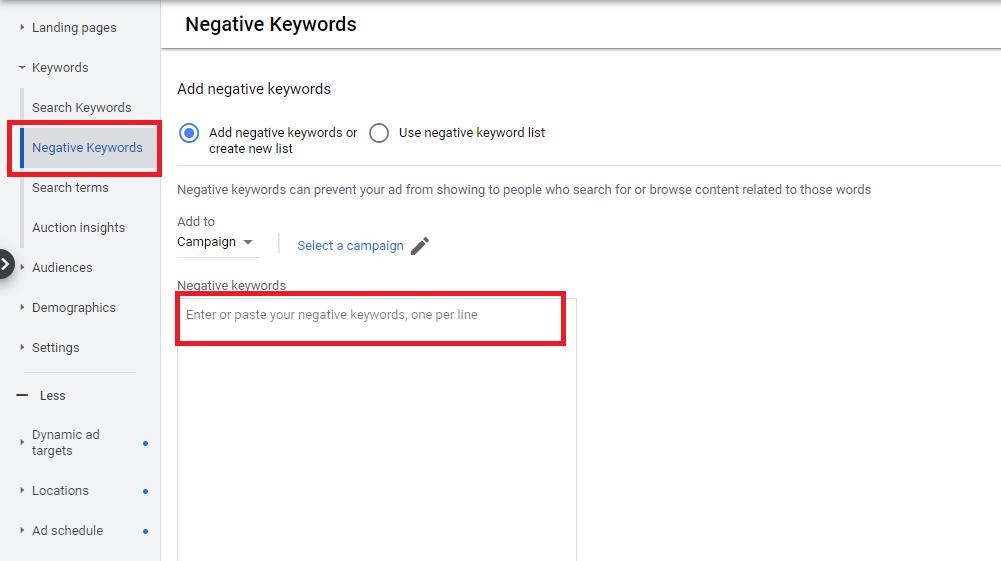 Прозореца за негативни ключови думи в Google Ads.