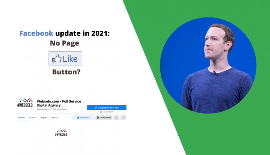 Facebook Update през 2021, който може да премахне Page Like бутона на страниците във Facebook в ляво и Марк Зукърбърг в дясно.