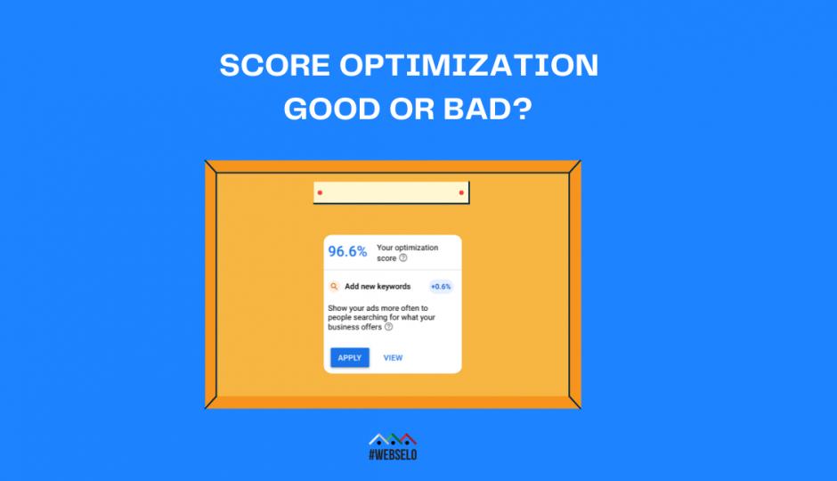 Препоръка на Google за добавяне на повече ключови думи, с цел повишаване на 96,6%-тен Optimization Score с 0,5% и въпрос Score Optimization Good or Bad