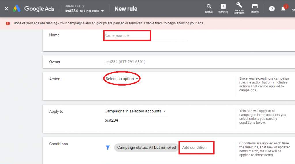 Set-up rules in Google Ads