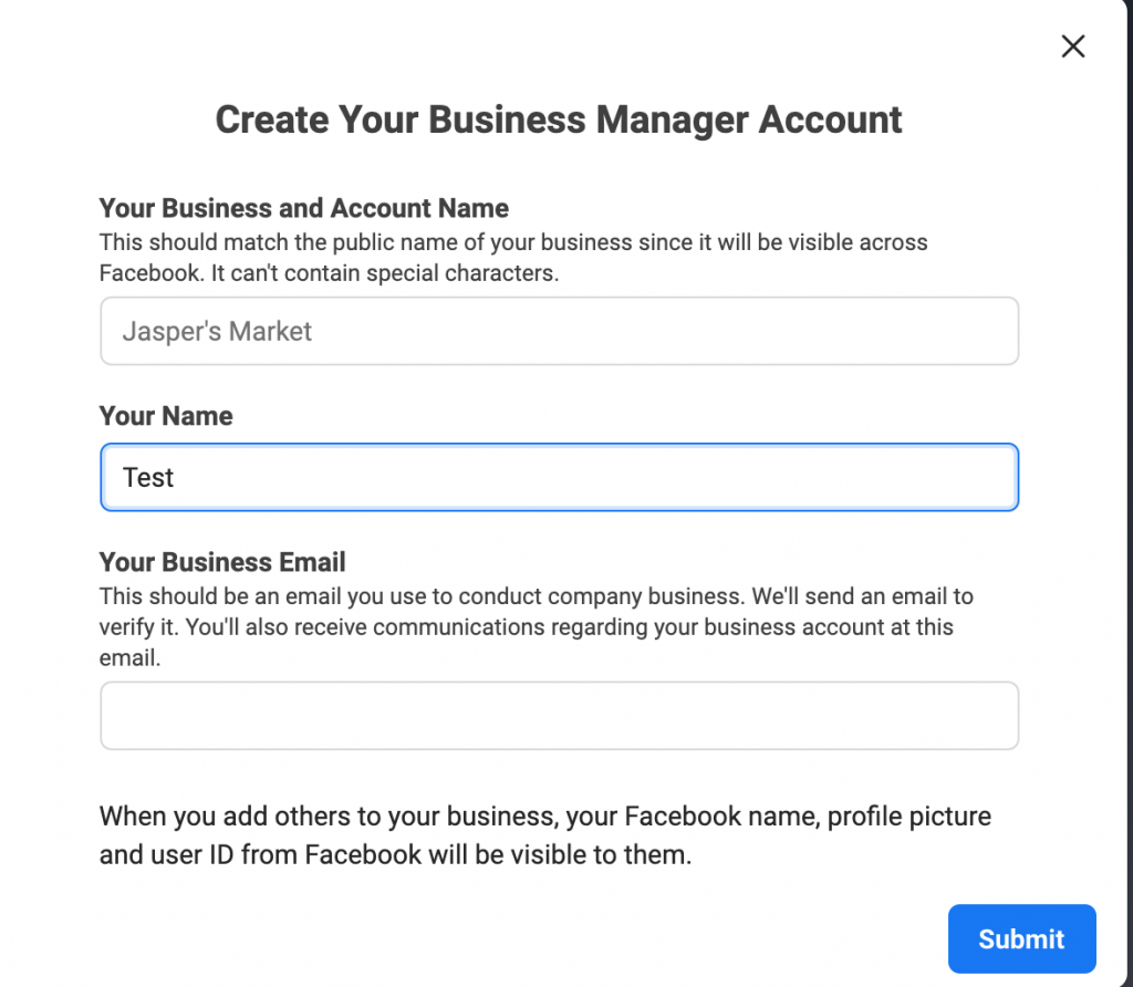 create yout business manager account